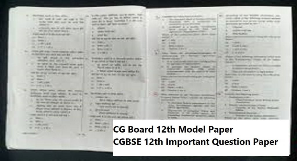 CG Board Important Question Paper 2021