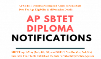 AP SBTET Diploma Notification 2020 Apply Forum Exam Date Fee Age Eligibility & all branches Details